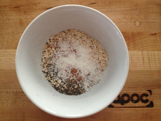 One of my oatmeal dishes (before adding the hot water).  Plain instant oatmeal, shredded coconut, chia sees and a dash of cinnamon.