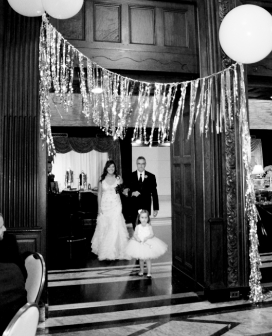 Heading towards the aisle with my papa and Ryann, who was about to become my niece officially (how cute is she in that tutu?!!!)