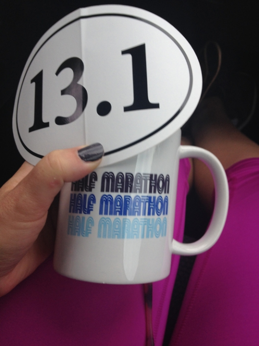 beth left a little present in my car before the race, so i'd have it right away afterwards.  As a marathon runner and seasoned half marathoner, she was such a great support and so proud of my efforts. it meant a lot to me.